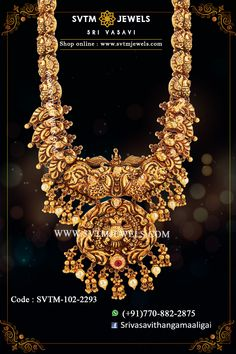 Be unique and more traditional with this gold long Mayur necklace prettified with pearl beads and kemp stone design. Shipping across India and USA. Antique Jewellery Designs, Gold Earrings Designs, Gold Jewellery Design, Antique Jewelry, Antique Gold, Indian Wedding Jewelry, Bridal Jewelry, Indian Jewelry, Gold Temple Jewellery