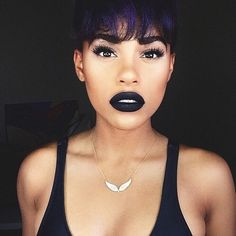 """Raye Boyce on Instagram: """"Yaaasssss to this @katvondbeauty lipstick My sis @aoshinnnnn inspired me to wear black lips. Haven't in a long time. Color : [Witches] (it's matte but doesn't feel dry on my lips) Lashes : Social Lash [Ravishing] #kvdlook"""""""