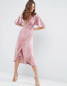 7148237bf Vestido a media pierna estilo kimono de terciopelo con escote pronunciado y  diseño anudado Trajes De