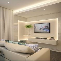 Living Room Tv Wall Decor Floating Shelves Tv Cabinets Ideas For 2019 Tv Unit Design, Tv Wall Design, Living Room Tv Unit, Living Room Decor, Living Rooms, Tv Wall Decor, Wall Tv, Tv Wall Units, Tv Units