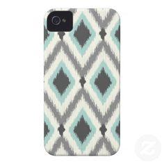 Gray  Mint Tribal Ikat Chevron iPhone 4 Case