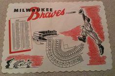 1957 Milwaukee Braves Paper Placemat Original Baseball Sports Memorabilia RARE!