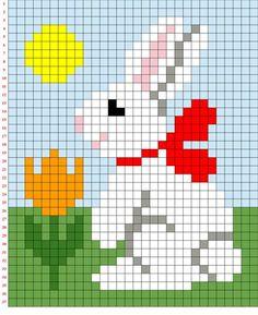 Cross stitch chart, a bunny Free Baby Sweater Knitting Patterns, Knitting Charts, Baby Knitting, Cross Stitch Designs, Cross Stitch Patterns, Chicken Cross Stitch, Graph Paper Art, Pixel Art Templates, Pony Bead Patterns