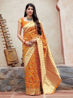 Be a stunner in festive parties and function with this charming yellow color designer saree. This festive wear banarasi saree is decorated with modish weaving work. The saree comes along with matching. Banarasi Sarees, Silk Sarees, Traditional Sarees, Indian Ethnic Wear, Party Wear Sarees, Indian Designer Wear, Indian Sarees, Party Fashion, Indian Fashion