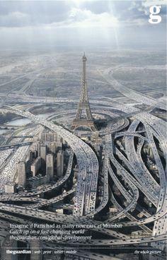 Ein faszinierendes Motiv hat der Guardian sich da ausgedacht. Leider hab ich zuerst gedacht, es wäre ne Anzeige gegen Smog... ^^ → Mehr #Design #Grafikdesign #Werbung #Anzeige #Paris #Ideen & #Inspiration auf pins.dermichael.net ▶▶