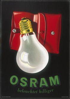 Peter Birkhäuser, advertising poster for Osram Light Bulbs: 1942. Switzerland.