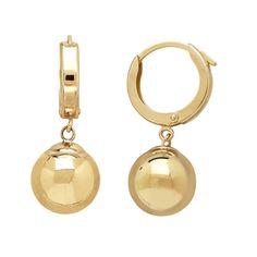 14k Yellow Gold Polished Bead Drop Hoop Earrings