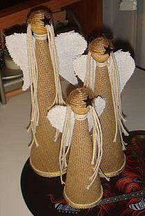 święta - Stylowi.pl - Odkrywaj, kolekcjonuj, kupuj Christmas Mood, Christmas Angels, Christmas Projects, Holiday Crafts, Christmas Stocking Pattern, Angel Crafts, Nativity Crafts, Burlap Crafts, Christmas Decorations