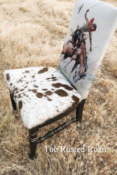 Cowhide Decor, Cowhide Furniture, Western Furniture, Rustic Furniture, Cool Furniture, Painted Furniture, Cabin Furniture, Furniture Vintage, Furniture Online