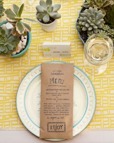 Stamped Menu Cards - use plain paper but embellish with a cute stamp!