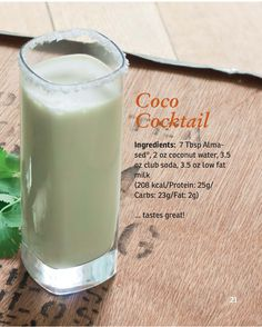 Almased Coco Cocktail – Keep up with the times. Almased Diet Recipes, Detox Recipes, Smoothie Recipes, Smoothies, Points Plus Recipes, Water Recipes, Shake Recipes, Low Calorie Recipes, Slim