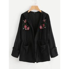 SheIn(sheinside) Embroidery Patch Dual Pocket Hoodie Jacket (41 BAM) via Polyvore featuring outerwear, jackets, black, hooded jacket, pocket jacket, long hooded jacket, zipper jacket and long embroidered jacket