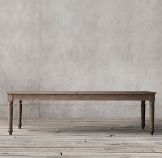 RH's 19th C. English Farmhouse Rectangular Dining Table:Reclaimed wood lends inimitable character and warmth to our table, modeled after a 19th-century English farmhouse antique. Crafted of salvaged pine, it features a long, planked top and spindle-turned legs.
