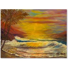 Trademark Fine Art 'A Tropical Lagoon' Canvas Art by Manor Shadian, Size: 35 x Assorted Canvas Wall Art, Canvas Prints, Sky Full, Artist Canvas, Baby Clothes Shops, Canvas Size, Art Reproductions, Painting Prints, Art Pieces