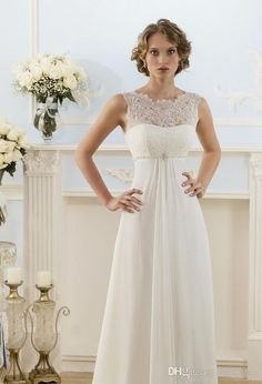 Lace Chiffon Empire Wedding Dresses 2016 Sheer Neck Capped Sleeve A Line Long Chiffon Wedding Dresses Summer Beach Bridal Gowns Hot Selling Two Piece Wedding Dresses Wedding Dress Sales From Bestdeals, $63.58| Dhgate.Com