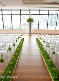 Simple and modern ceremony décor.cute way to bring a little of the outdoors - indoors. Don't like this exactly but maybe something a bit like this? Rustic Country Wedding Decorations, Wedding Ceremony Decorations, Wedding Ideas, Flower Decorations, Wedding Inspiration, Indoor Wedding Receptions, Aisle Flowers, Aisle Style, Botanical Wedding