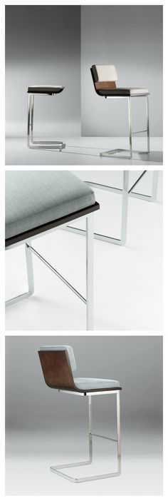 A bent wood shell hugs the seat and backrest and interplays with the lines of the base for the Li Stool. The resulting profile is minimalist, a form that speaks quietly but eloquently.