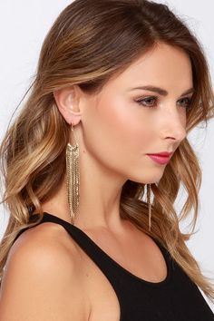 Count to Tinsel Gold Fringe Earrings at Lulus.com!