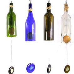 """cool """"gong"""" idea - I know how difficult it is to get a good cut on a wine bottle - this crafter must have a cutting machine to do this so cheap."""