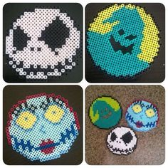 Nightmare Before Christmas Perler Beads by PrebreakofdawnCrafts by kristine Melty Bead Patterns, Pearler Bead Patterns, Perler Patterns, Beading Patterns, Art Patterns, Painting Patterns, Loom Patterns, Jewelry Patterns, Bracelet Patterns