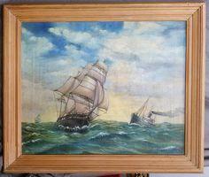 Antique Nautical Ship Portrait Painting by LeeFamilyAntiquesLLC