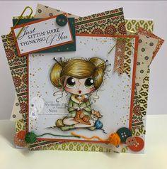 Knitting bestie/ Sherri Baldy/ bestie/ card making/ digi/ stamp/ Polychromos pencils/ Ness Butler/