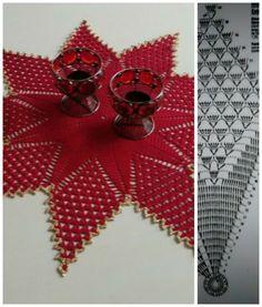"""icu ~ Centro de mesa """"Estrela"""", em c Crochet Stars, Crochet Snowflakes, Thread Crochet, Crochet Leaves, Crochet Needles, Crochet Cross, Filet Crochet, Lace Doilies, Crochet Doilies"""