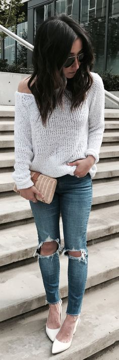 #summer #outfits White One Shoulder Knit + Destroyed Skinny Jeans + White Pumps