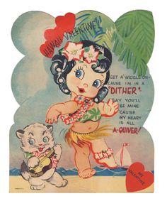 Hula Girl vintage mechanical valentine.