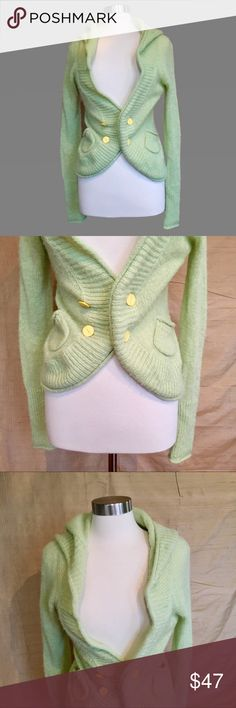 Sleeping on Snow Anthropolgie Hooded Cardigan M Lovely pale mint green colored cardigan with bright yellow buttons and hood from Sleeping on Snow, an Anthropologie brand. This is a very flatteringly cut sweater while also being comfy and cozy.   In very good condition. No flaws except minor pilling. Size M. Anthropologie Sweaters Cardigans