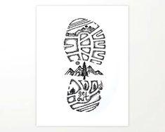 """Tread Lightly"" Hand-Drawn by Dark Mountain Arts Art Print by darkmountainarts - X-Small Montain Tattoo, Hiking Tattoo, Dark Mountains, Nature Drawing, Rustic Wall Art, Mountain Art, Pen Art, Tread Lightly, Art Drawings"
