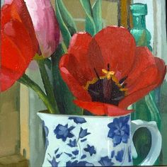 """Daily Paintworks - """"Red Tulips Encore"""" by Joanna Olson"""