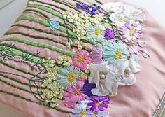 Embroidery Ribbon Handbag flower needlework embroidered