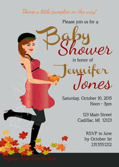 Pumpkin Baby Shower Invitation  Fall Baby Shower by FabPartyPrints