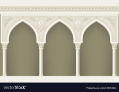 Arcade in oriental style Royalty Free Vector Image Mosque Architecture, Indian Architecture, Classic Architecture, Concept Architecture, Oriental Fashion, Oriental Style, Arcade, Islamic Art Pattern, Background Decoration