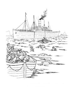 titanic coloring pages with people in the water