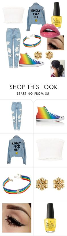 """""""❤️❤️"""" by mybribri ❤ liked on Polyvore featuring Topshop, Converse, INC International Concepts, OPI and pride"""