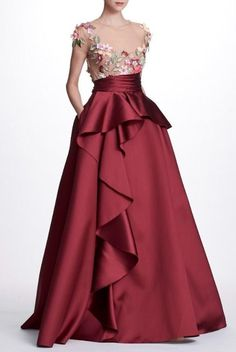 Marchesa Notte N23G0597 3D Floral Embroidered Mikado Ball Gown | Poshare