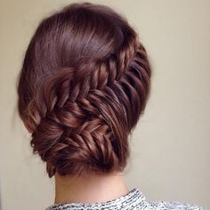 So pretty french fishtail updo hairstyle