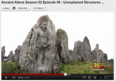 """While watching """"Ancient Aliens - Unexplained Structures, season 2, epidsode 8"""", while Giorgio Tsoukalos was saying, """"We are talking about stone age time"""", this image appears in one of the stones at Carnac in France. Did anyone else see this image appear as the camera zoomed in on a monolithic stone? Take a look for yourself at 25:07 in the video at the following link:"""