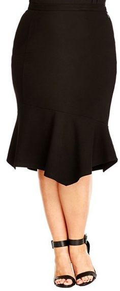 Plus Size Flounce Hem Skirt