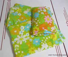 Vintage Flower Power Sheets 2 Twin Flat 1 Twin Fitted Pacific Fabric