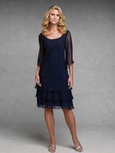 3ac4de5c9de Navy Blue Mother of the Bride Dresses Scoop Neckline Knee Length Tiered  Chiffon Women Formal Special Occasion Gowns Half Sleeves 2015