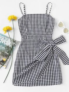 Shop Knot Side Checked Cami Dress at ROMWE, discover more fashion styles online. Casual Outfits For Teens, Cute Girl Outfits, Cute Summer Outfits, Pretty Outfits, Stylish Outfits, Casual Dresses, Summer Dresses, Girls Fashion Clothes, Teen Fashion Outfits