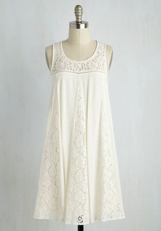 Merriment to Be Dress - White, Tan / Cream, Solid, Casual, Shift, Sleeveless, Spring, Woven, Lace, Good, Mid-length, Boho