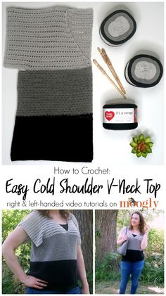 The free Easy Cold Shoulder V-Neck Top pattern comes in 8 sizes, Small to 5X! And to help you make your own, here are right and left-handed video tutorials!