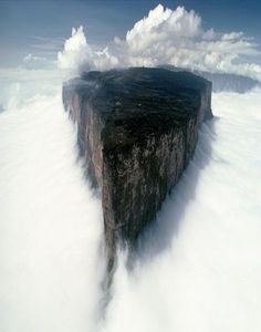 Honestly, the first thing I thought of when I saw this is the precipice of Minis Tirath, the white city in LOTR:o) Mount Roraima is located on the triple border point between Brazil, Guyana and Venezuela.