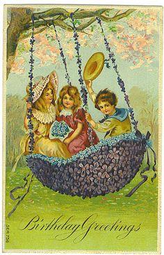 Birthday Greetings vintage postcard by Tommer G, via Flickr