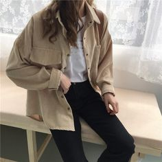 2 Colors 2018 Autumn Women Corduroy Jackets Pockets Korean Long Sleeve Solid Jackets Outwear Casual Pocket Loose Jackets 40 Casual Bomber Jacket Outfits for Winters 'Cause it's Back in Trend' Mode Outfits, Fashion Outfits, Jackets Fashion, Party Outfits, Party Dresses, Bluse Outfit, Cooler Look, Looks Black, Spring Shirts