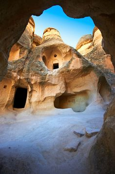 Early Christian church ~ in the Fairy Chimneys near Zelve, Cappadocia, Turkey. The areas most extraordinary phase was during the medieval era, when the valleys were a refuge to Byzantine Christians.